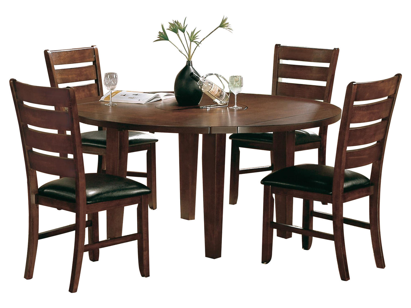 Homelegance ameillia 5pc dining set round table 4 chair in dark brown
