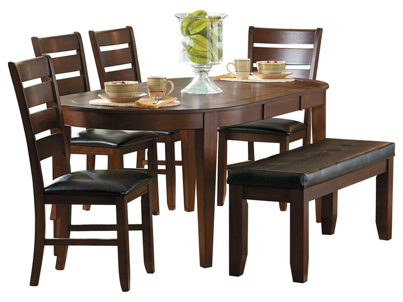 Homelegance Ameillia 6PC Dining Set Oval Dining Table Four Side Chair Bench in Dark Oak