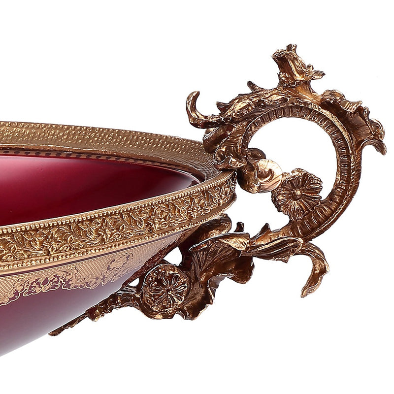 Bowl in Bronze & Ruby Red & Gold Finish AC6003L European Traditional Victorian