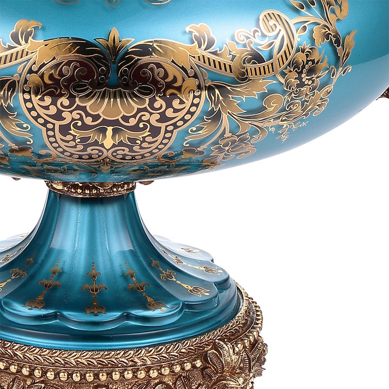 Urn in Bronze & Sapphire Blue & Gold Finish AC6009H European Traditional Victorian