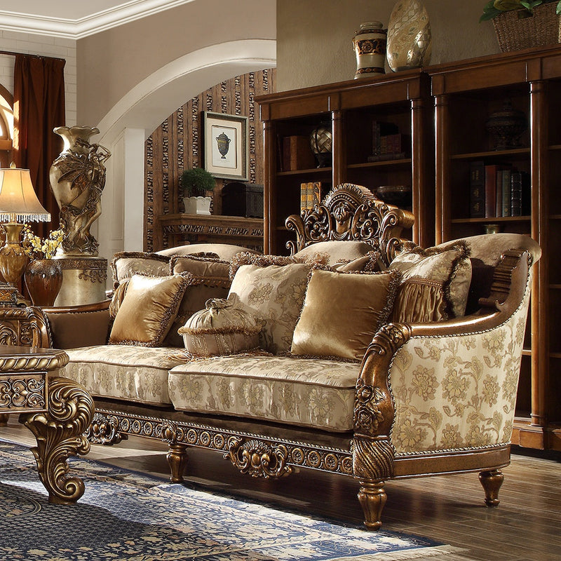 Fabric Sofa in Metallic Antique Gold Finish S610 European Traditional Victorian