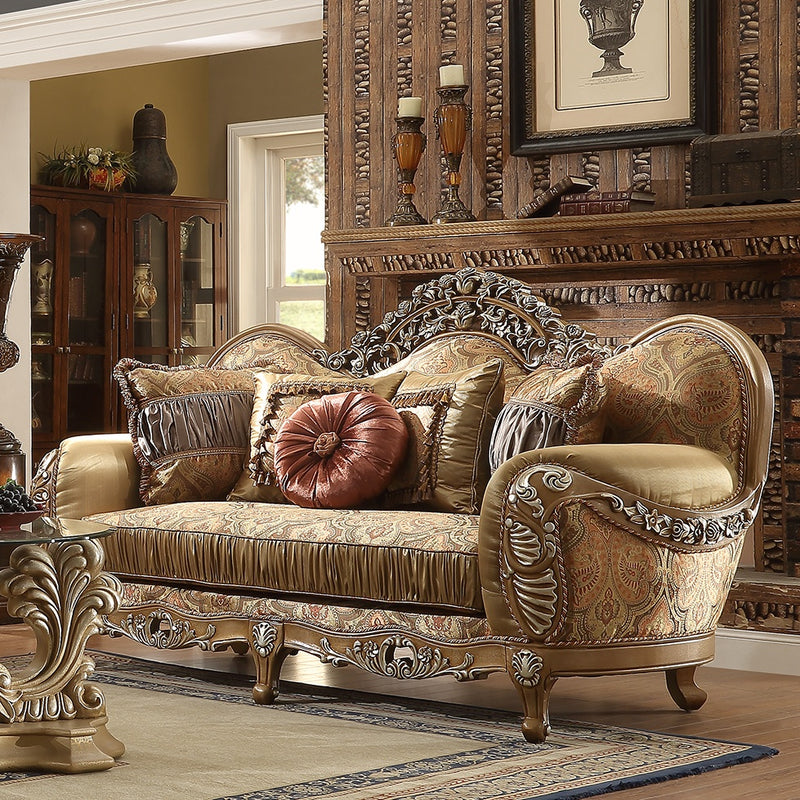 Fabric Loveseat in Light Maple Finish L622 European Traditional Victorian