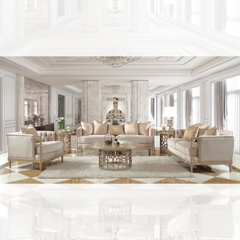 Fabric 3 PC Sofa Set in Champagne Finish 625-SSET3 European Traditional Victorian