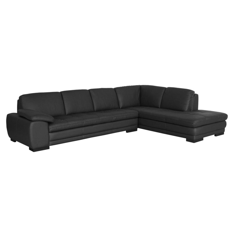Modern Chaise Sectional Sofa in Black Wood