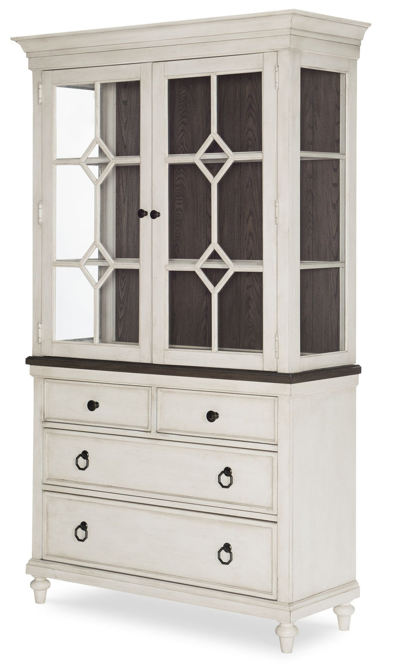 Legacy Classic Brookhaven China Base & Hutch in Rustic Dark Elm