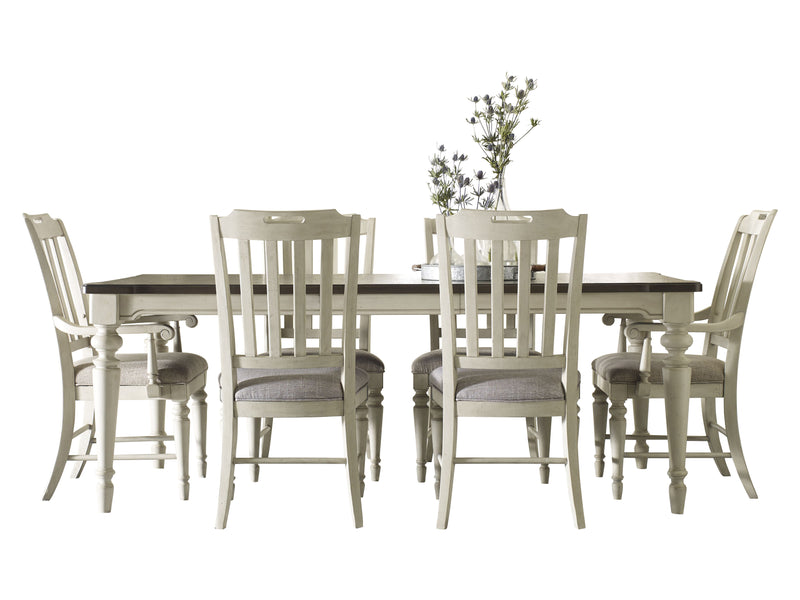 Legacy Classic Brookhaven 7PC Dining Set Dining Table Four Side Chair Two Arm Chair in Rustic Dark Elm