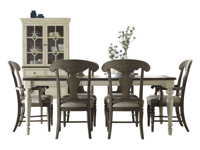 Legacy Classic Brookhaven 8PC Dining Set Dining Table Four Side Chair Two Arm Chair Buffet & Hutch in Rustic Dark Elm