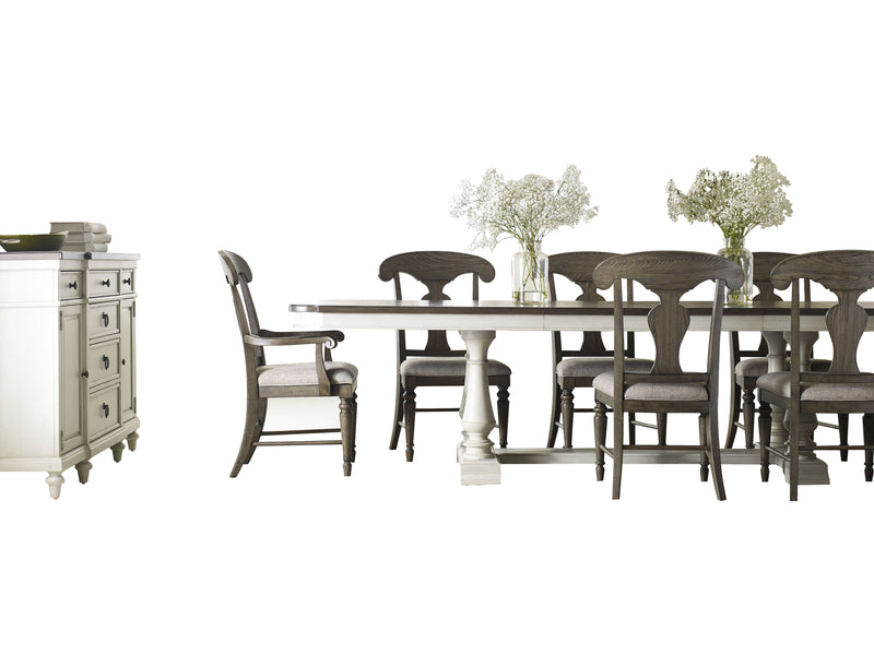 Legacy Classic Brookhaven 10PC Dining Set Dining Table Six Side Chair Two Arm Chair Buffet & Hutch in Rustic Dark Elm