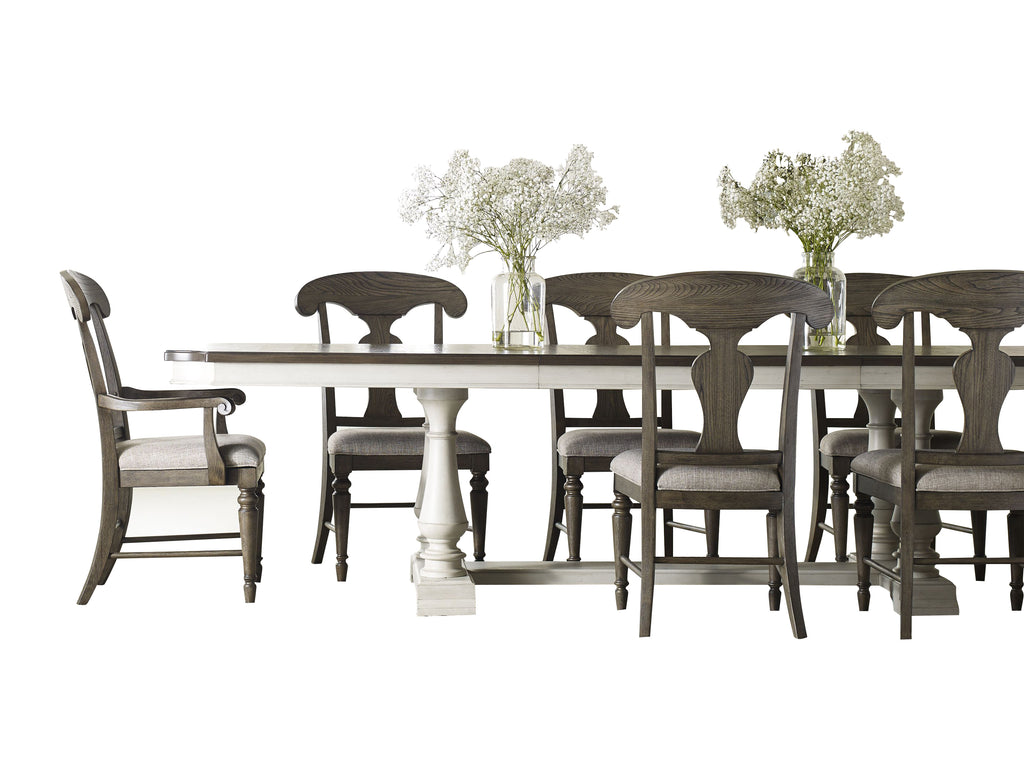 Legacy Classic Brookhaven 9PC Dining Set Dining Table Six Side Chair Two Arm Chair in Rustic Dark Elm