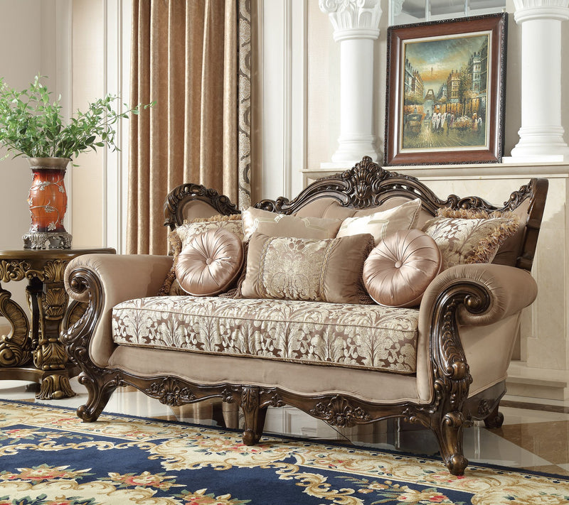 Fabric Loveseat in Brown Finish L6935 European Traditional Victorian