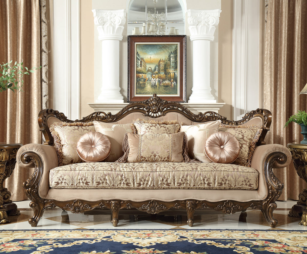 Fabric Sofa in Brown Finish S6935 European Traditional Victorian
