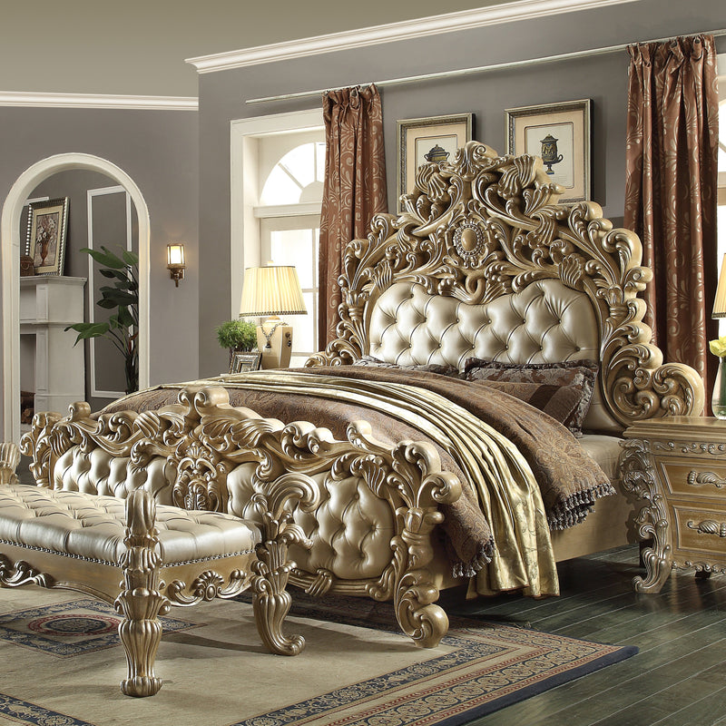 Leather Eastern King Bed in Frost & Antique Silver Finish 7012EKBED European