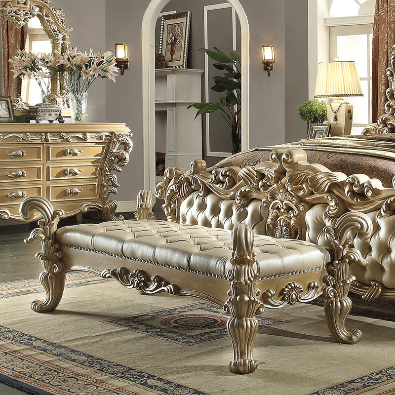 Leather Bed Bench in Frost & Antique Silver Finish 7012BENCH European Victorian