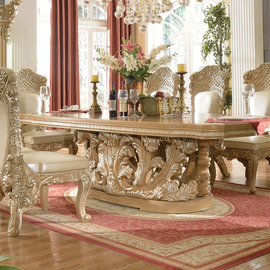 Dining Table in Frost & Antique Silver Finish D7012 European Traditional Victorian