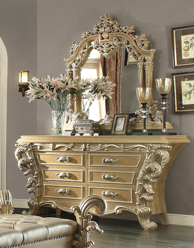 Dresser in Frost & Antique Silver Finish DR7012 European Traditional Victorian