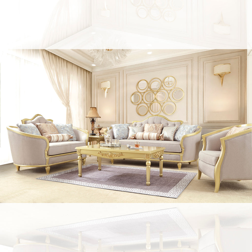 Fabric 3 PC Sofa Set in Metallic Gold Finish 710-SSET3 European Traditional Victorian