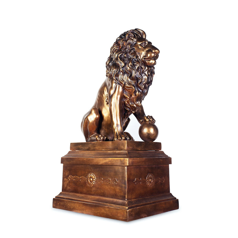 Lion Sculpture with Right Ball in Antique Bronze with Polish Accent Finish AC71159