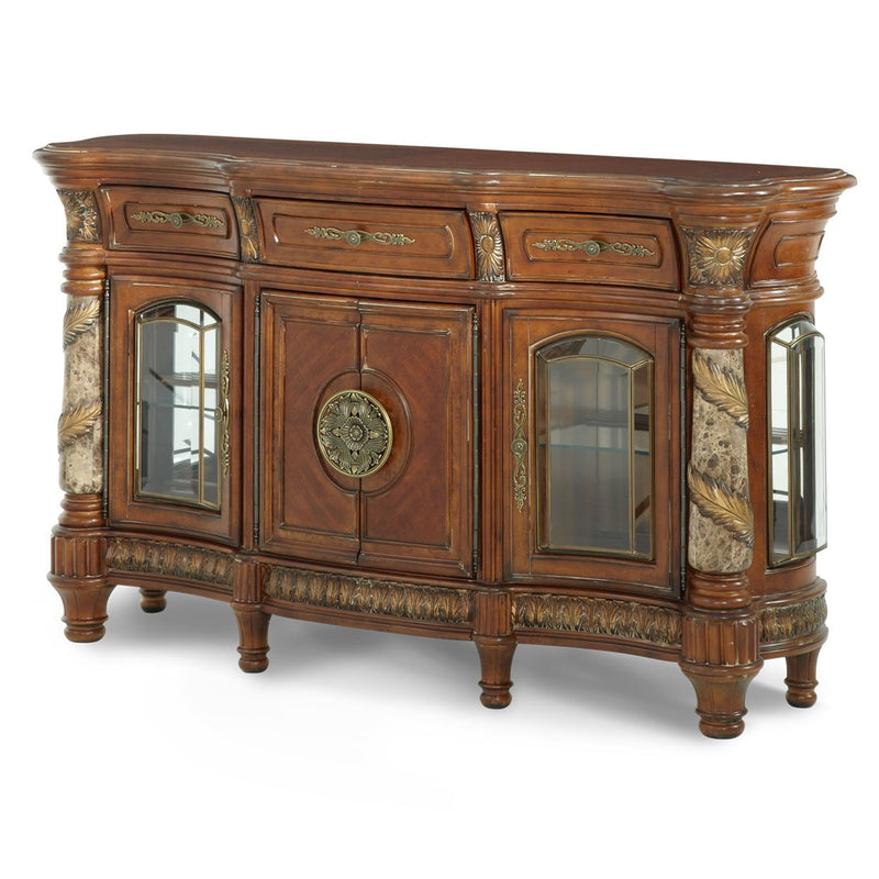 Aico Amini Villa Valencia 2 PC Sideboard & Mirror Set in Classic Chestnut