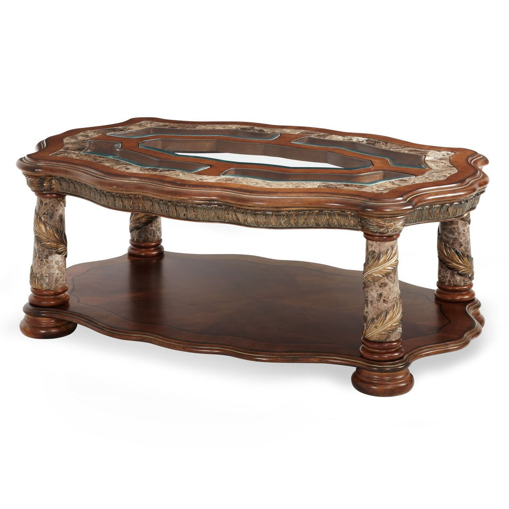 Aico Amini Villa Valencia Rectangular Cocktail Table in Classic Chestnut