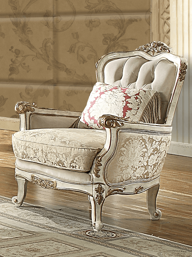 Fabric Accent Chair in Silvery White Cream Finish C7310 European Victorian