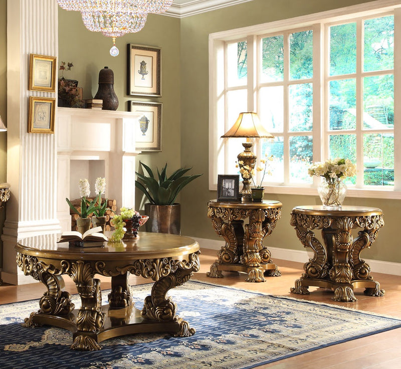 3 PC Coffee Table Set in Metallic Antique Gold & Brown Finish 8008-CTSET3 European