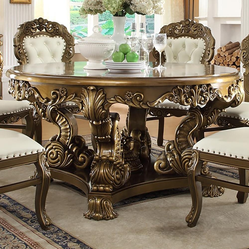 Dining Table in Metallic Antique Gold & Brown Finish D8008 European Victorian