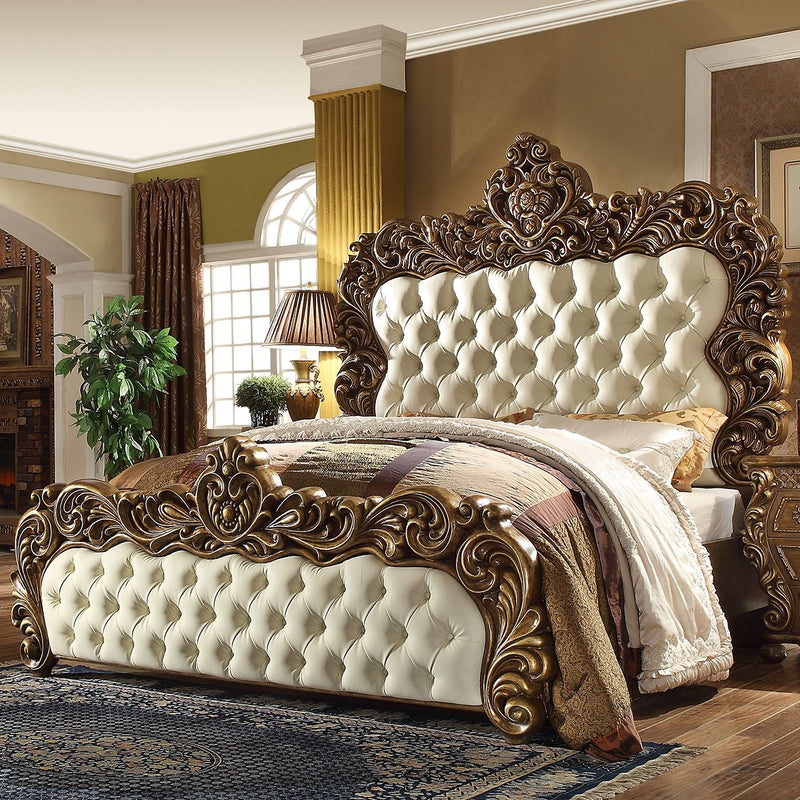 Leather Eastern King Bed in Metallic Antique Gold & Brown Finish 8011EKBED