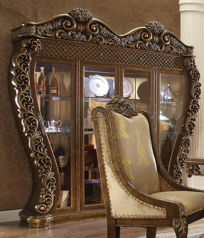 China Cabinet in Metallic Antique Gold & Brown Finish 8011China Cabinet European