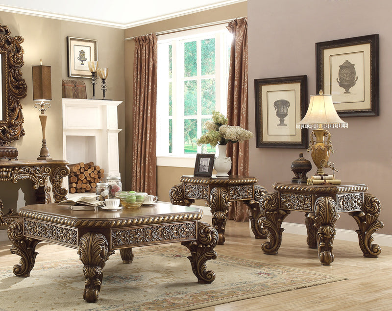 3 PC Coffee Table Set in Metallic Antique Gold & Brown Finish 8011-CTSET3 European