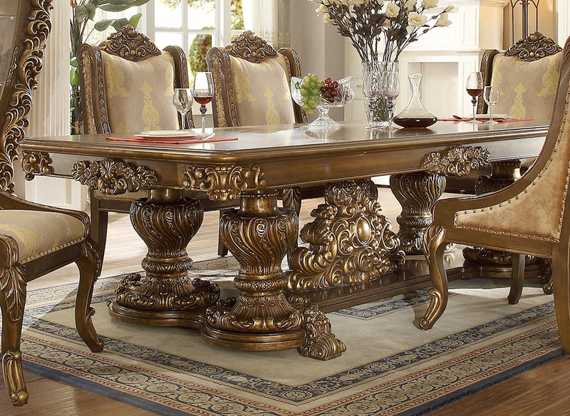 Dining Table in Metallic Antique Gold & Brown Finish D8011 European Victorian