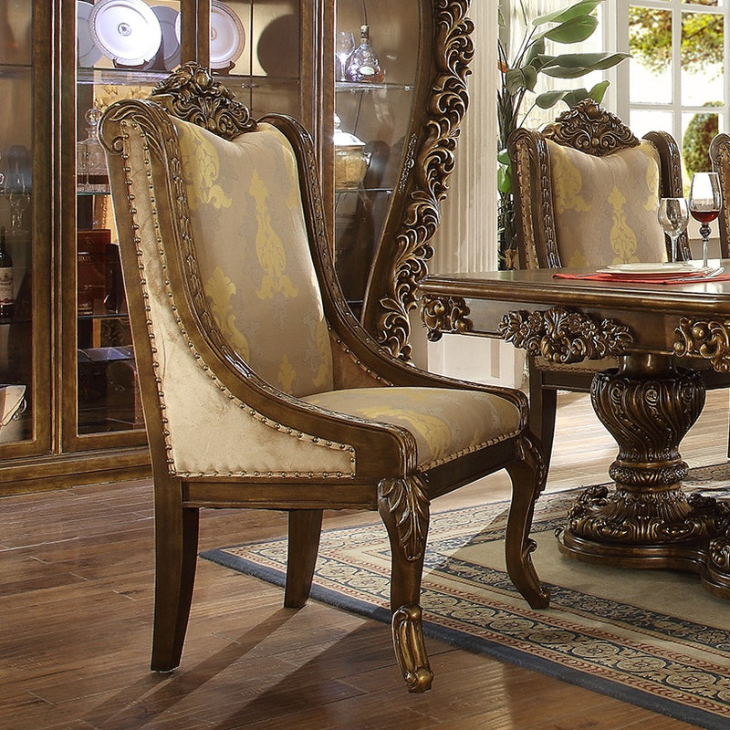 Fabric Side Chair in Metallic Antique Gold & Brown Finish CH8011 European Victorian