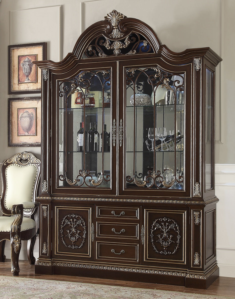 China Cabinet in Brown Cherry Finish CH8013 European Traditional Victorian