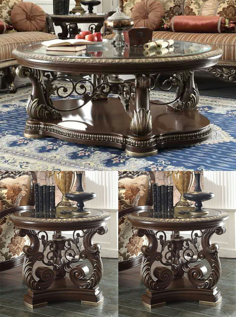 3 PC Coffee Table Set in Brown Cherry Finish 8013-CTSET3 European Victorian