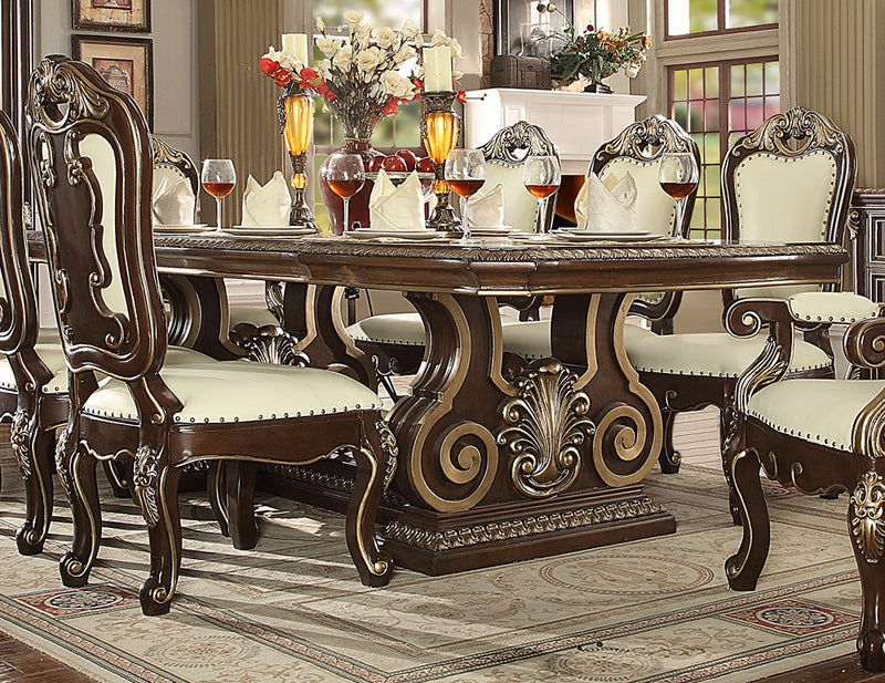 Dining Table in Brown Cherry Finish D8013 European Traditional Victorian