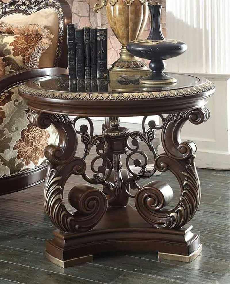 End Table in Brown Cherry Finish E8013 European Traditional Victorian
