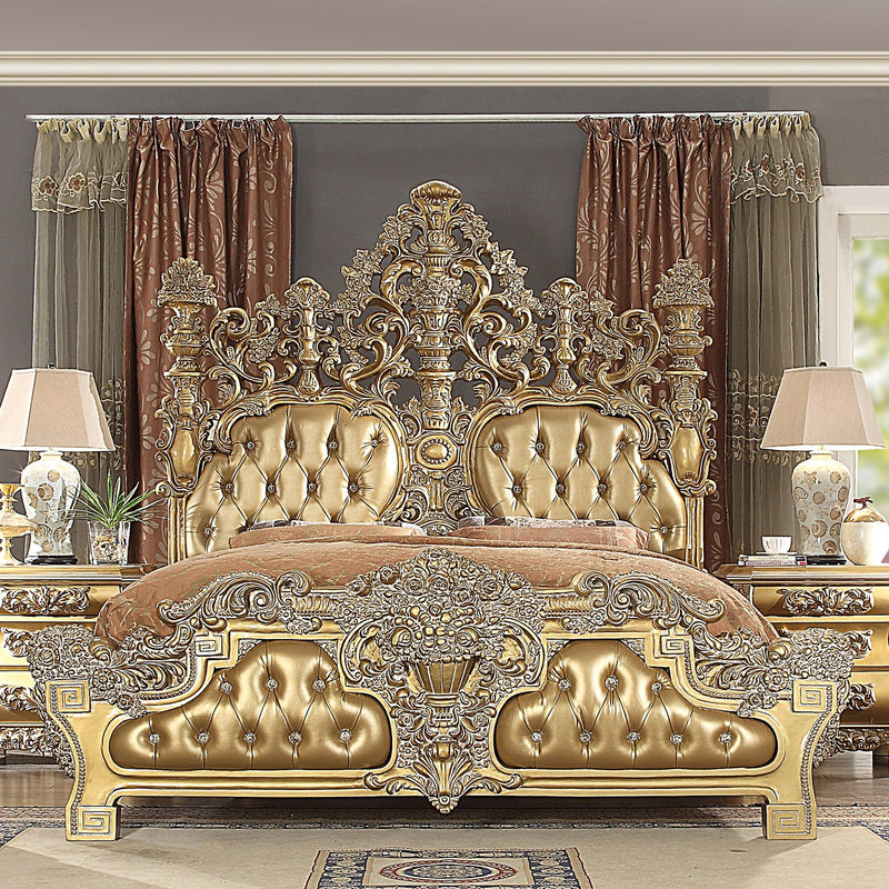 Leather Eastern King Bed in Metallic Bright Gold Finish 8016EKBED European