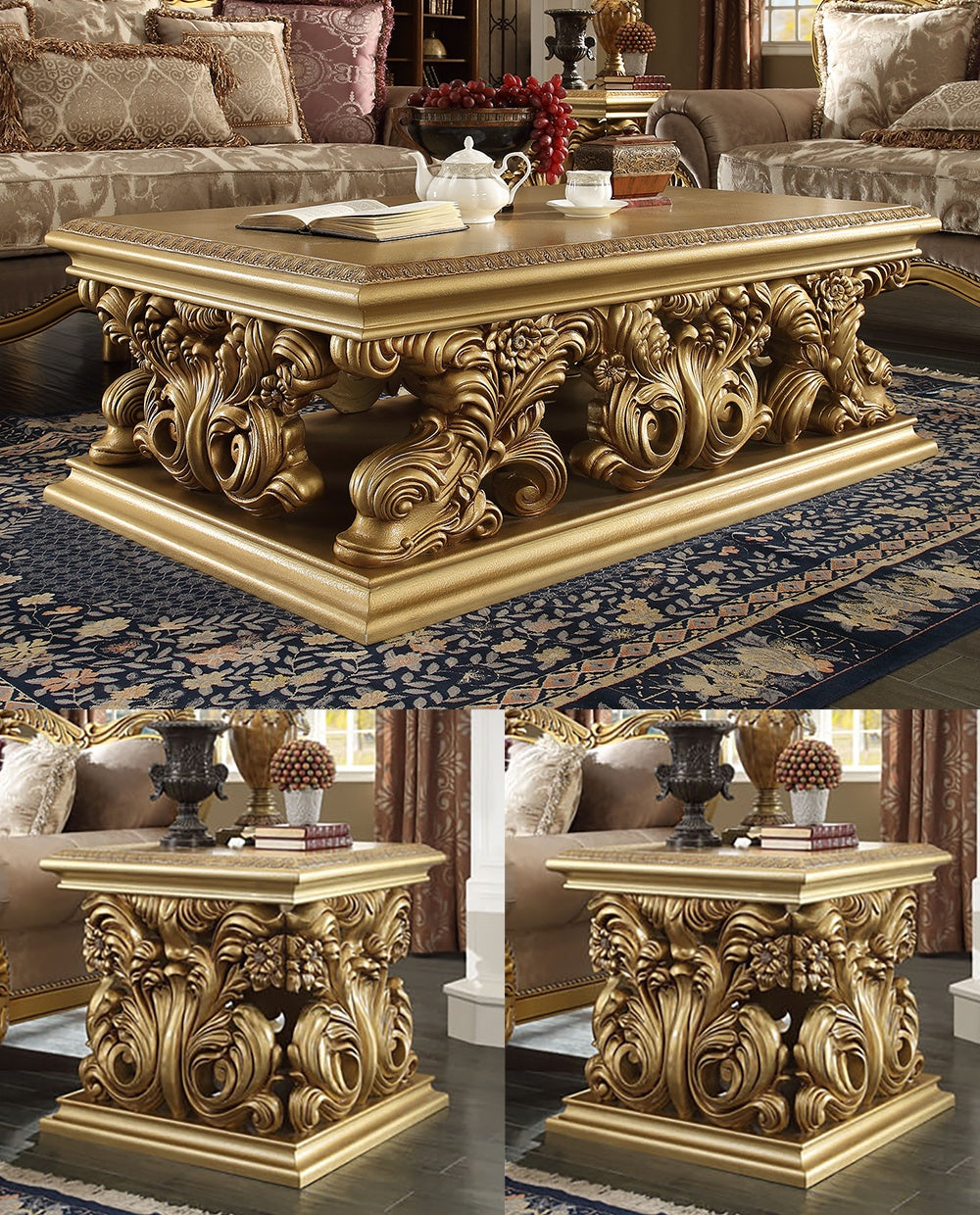 3 PC Coffee Table Set in Metallic Bright Gold Finish 8016-CTSET3 European Victorian