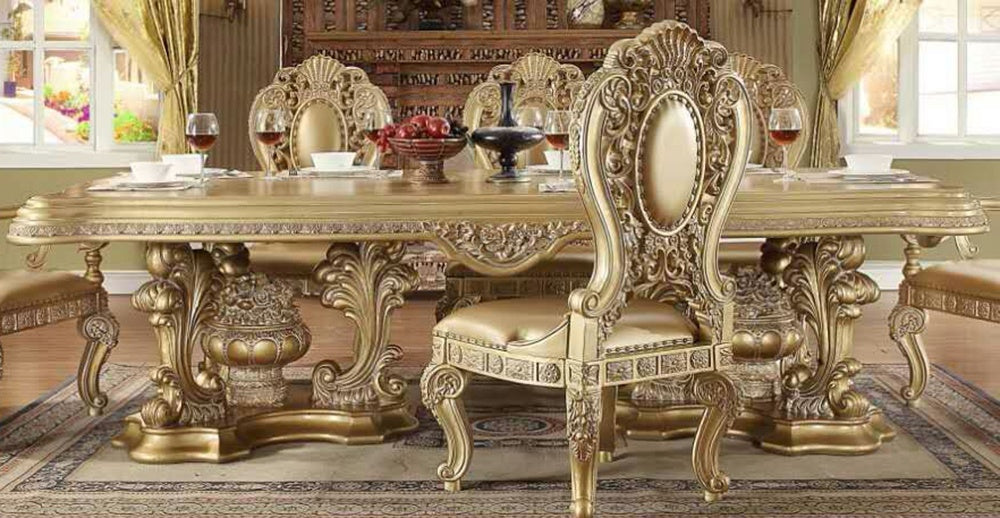 Dining Table in Metallic Bright Gold Finish D8016 European Traditional Victorian