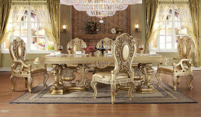 9 PC Dining Table Set in Metallic Bright Gold Finish 8016-DTSET9 European Victorian