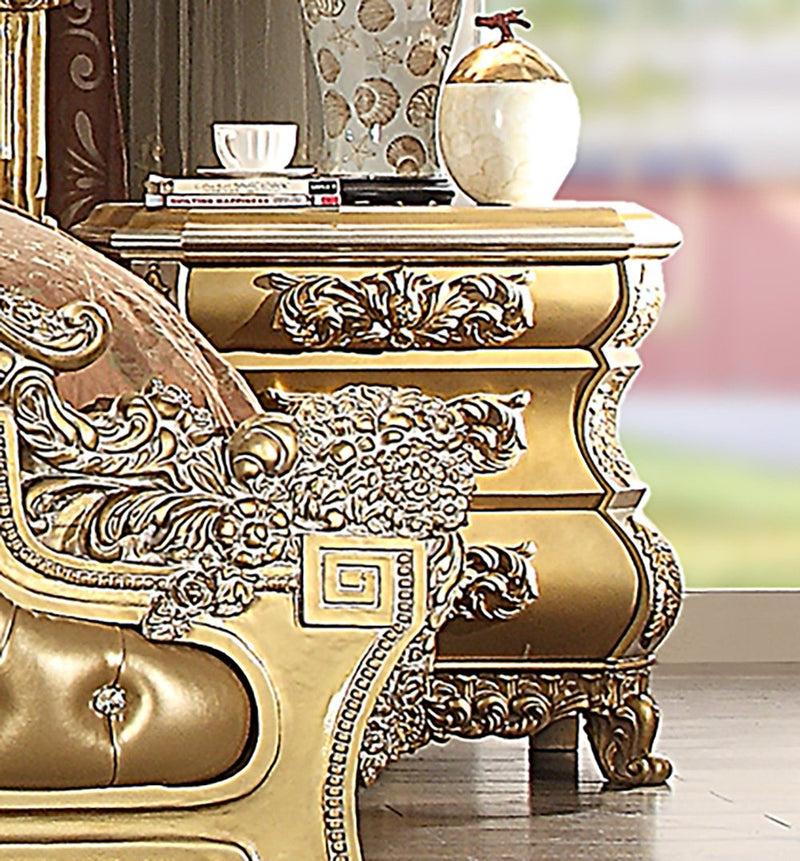 Night Stand in Metallic Bright Gold Finish N8016 European Traditional Victorian