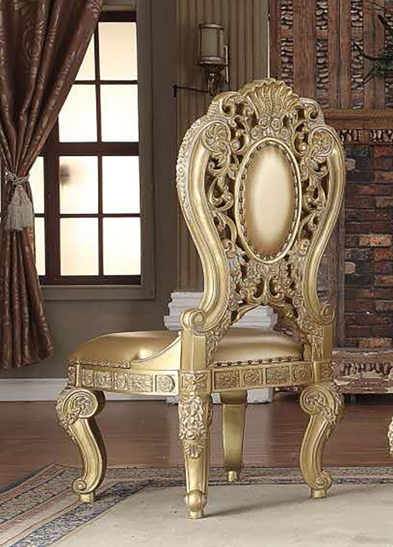 Leather Side Chair in Metallic Bright Gold Finish SC8016 European Victorian