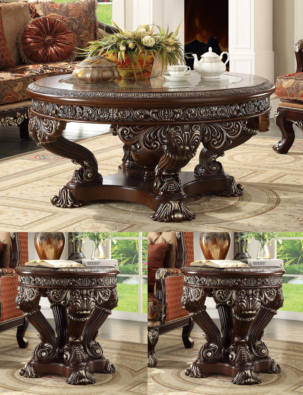 3 PC Coffee Table Set in Metallic Silver Finish 8017-CTSET3 European Victorian