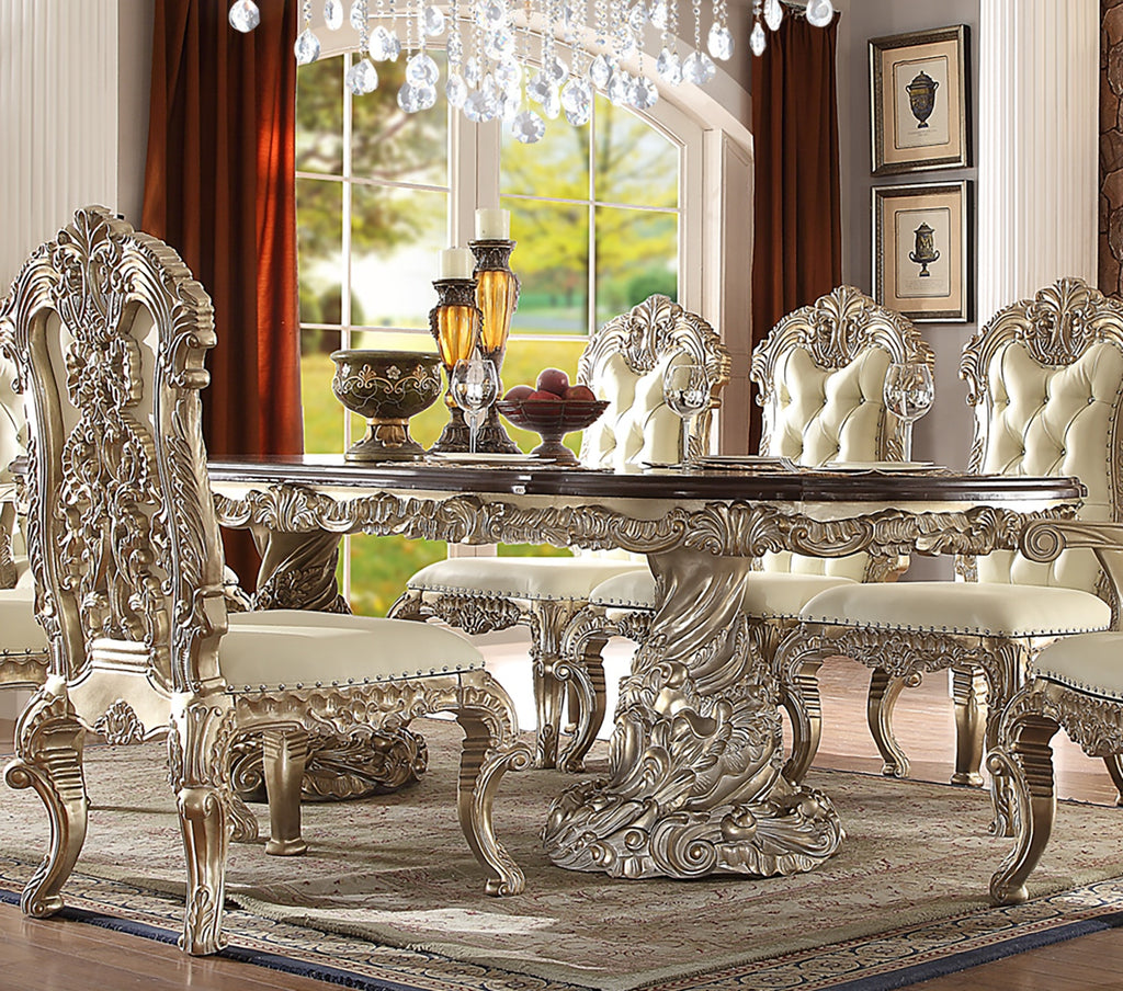 Dining Table in Metallic Silver Finish D8017RECTANGUALR European Victorian