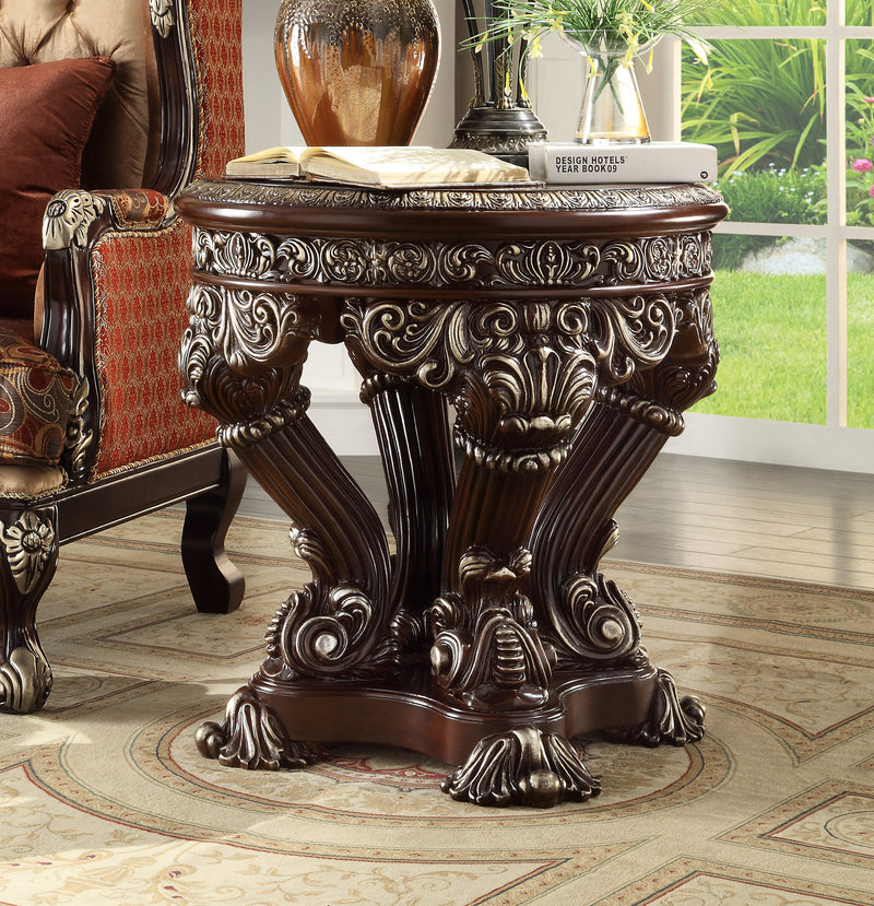 End Table in Metallic Silver Finish E8017 European Traditional Victorian