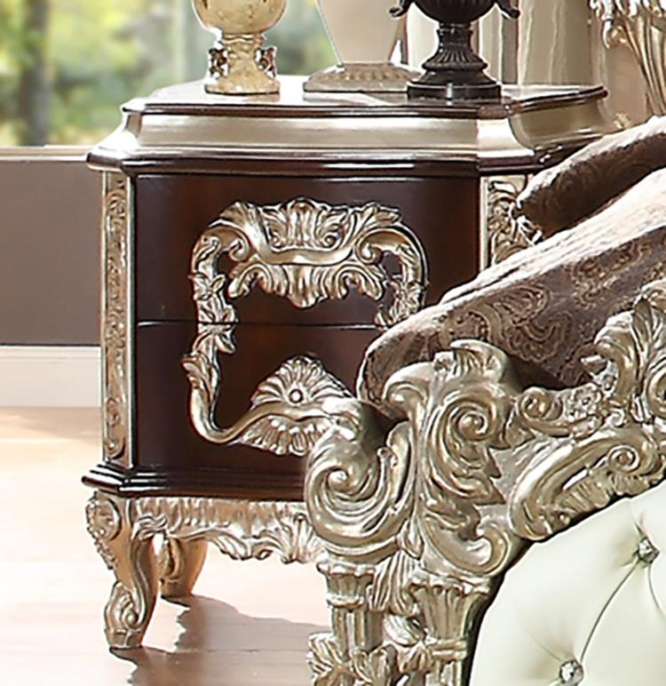 Night Stand in Metallic Silver Finish N8017 European Traditional Victorian