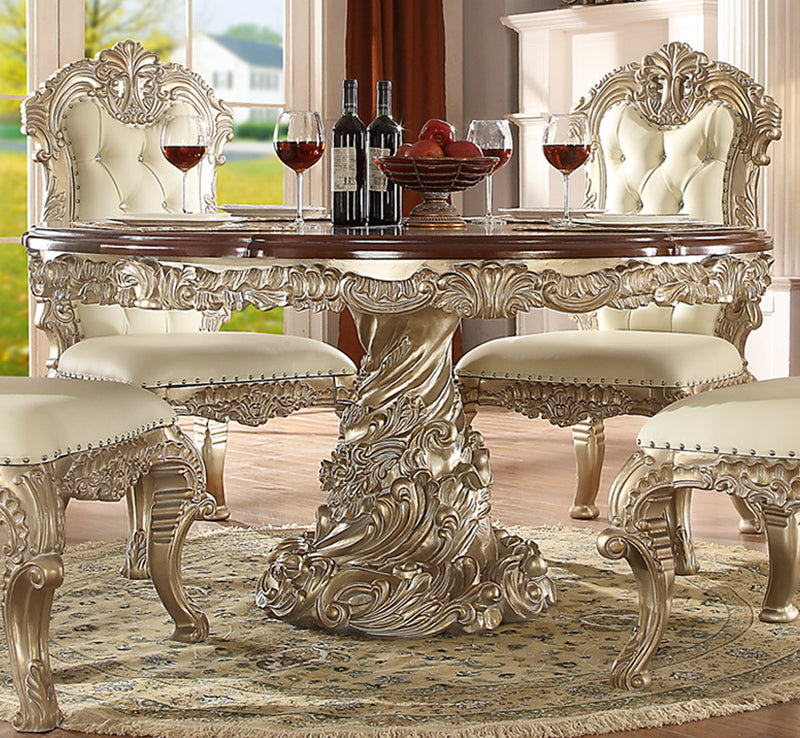 Round Dining Table in Metallic Silver Finish D8017ROUND European Victorian