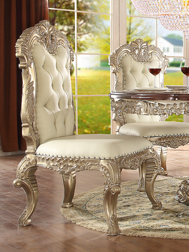 Leather Side Chair in Metallic Silver Finish SC8017 European Traditional Victorian