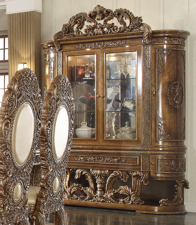 China Cabinet in Metallic Antique Gold & Brown Finish CH8018 European Victorian