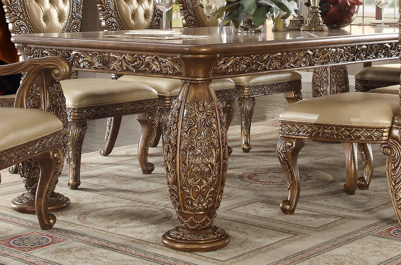 Dining Table in Metallic Antique Gold & Brown Finish D8018 European Victorian