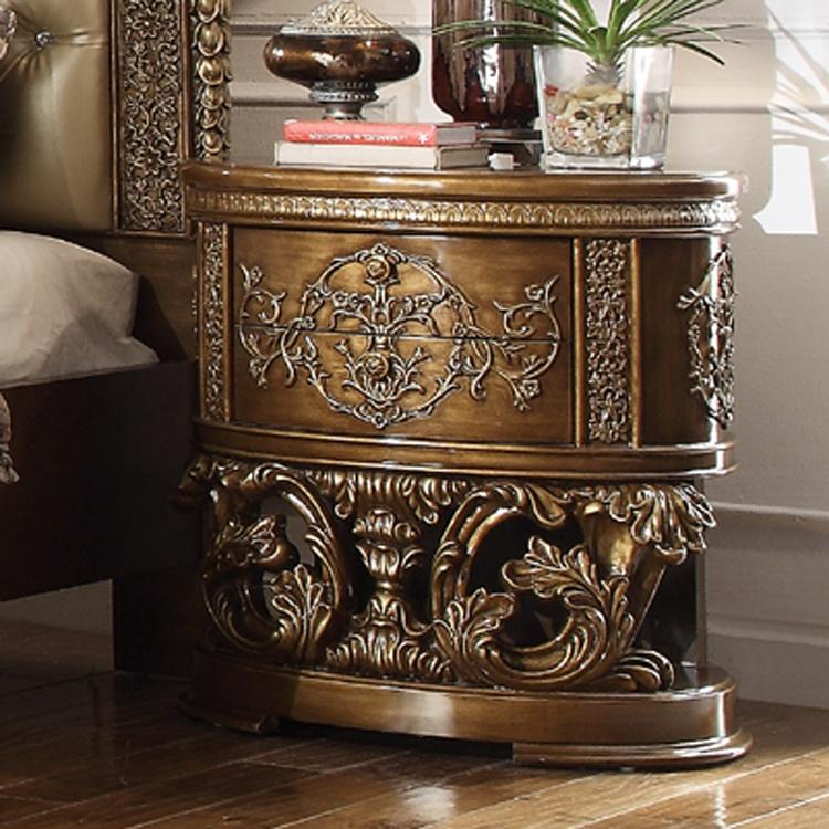 Night Stand in Metallic Antique Gold & Brown Finish N8018 European Victorian